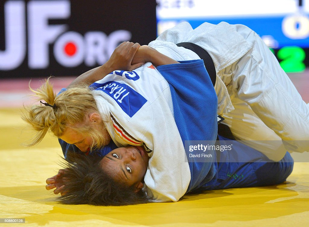 European champion Martyna Trajdos of Germany attempts to hold Edwige Gwend of Italy eventually winning their u63kg contest by a yuko on her way to...