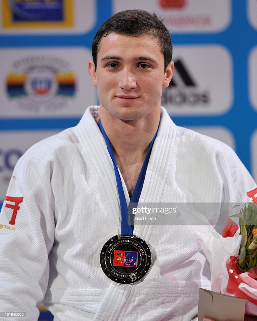 European champion, Varlam Liparteliani of Georgia, looks happy after being presented with the u90kgs gold medal at the Paris Grand Slam on day 2, Sunday, February 10, 2013 at the Palais Omnisports de Paris, Bercy, Paris, France.