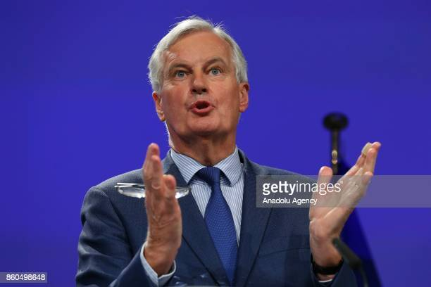 European Chief Negotiator for Brexit Michel Barnier and United Kingdom's Secretary of State for Exiting the European Union David Davis hold a joint...