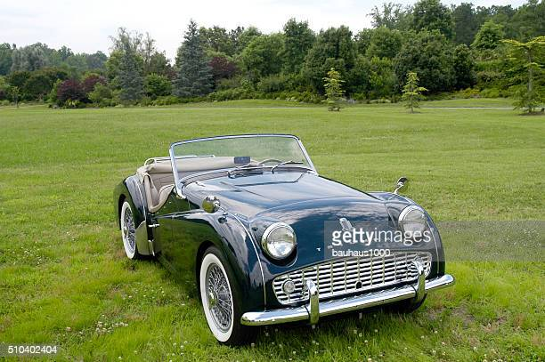 European Classic Sports Car--Green Triumph Roadster