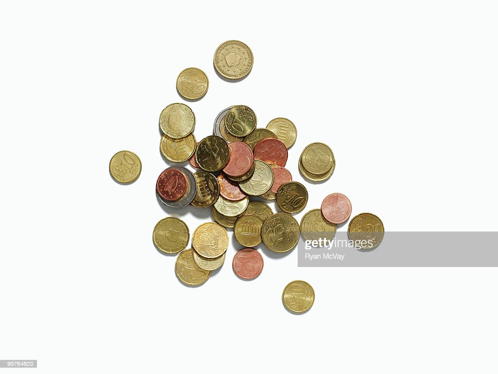european coins on white : Stock Photo