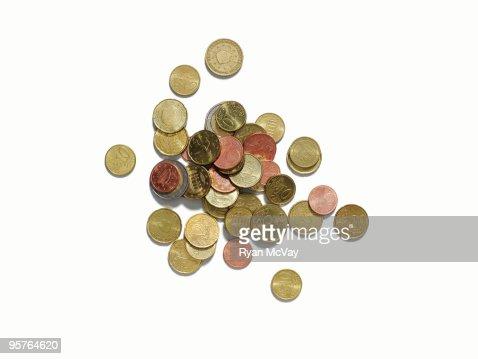 european coins on white : Stock Photo