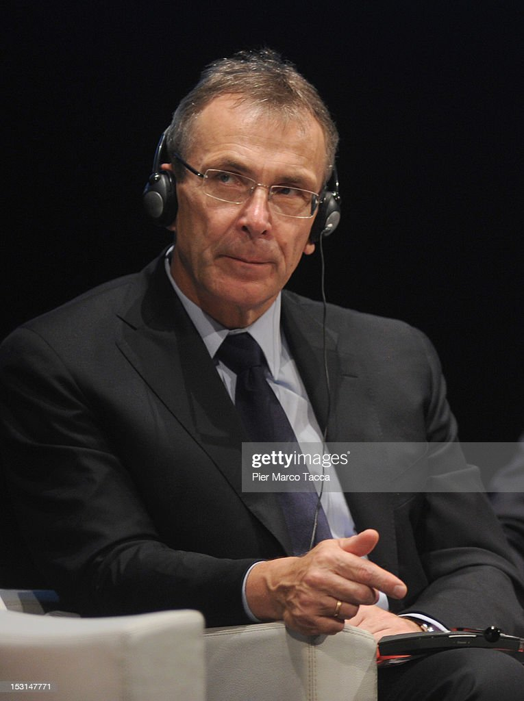 European Commisioner Andris Piebalgs speaks during the Forum of International Cooperation at Piccolo Teatro Strehler on October 1 2012 in Milan Italy
