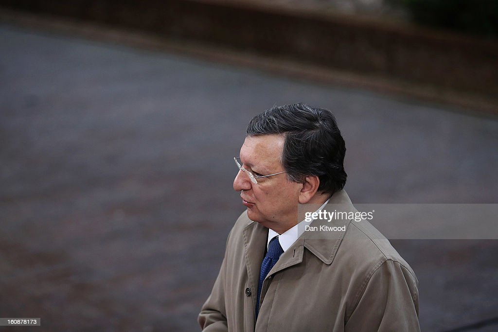 European Commission Chairman Jose Manuel Barroso arrives for the start of the European Council Meeting on February 7, 2013 in Brussels, Belgium. The President of the European Council, Herman Van Rompuy has announced that he will aim to reach an agreement on the EU's 2014-2020 budget during the two-day summit, which takes place on February 7 and 8. Cameron is expected to demand further cuts or a freeze to EU spending to reflect the national austerity measures implemented across Europe, amid stiff opposition from EU funded countries.