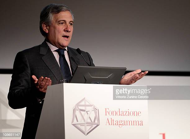 European Commission Cice President Antonio Tajani speaks during the 'Osservatorio Altagamma 2010' meeting held at Museo della Scienza e della Tecnica...