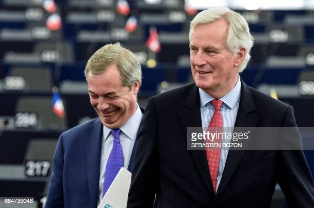 European commission member in charge of Brexit negotiations with Britain French Michel Barnier speaks with Member of the European Parliament and...