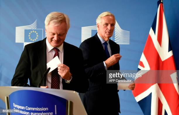 European Commission member in charge of Brexit negotiations with Britain Michel Barnier and British Secretary of State for Exiting the European Union...