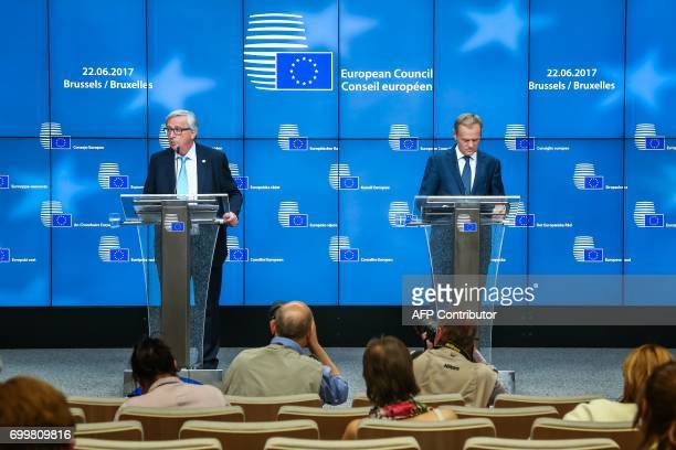European Commission President Jean Claude Juncker and European Council President Donald Tusk address a joint press conference on the sidelines of the...