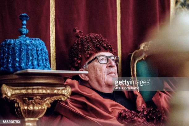 European Commission president Jean Claude Juncker attends a ceremony during which he was awarded an Honoris Causa at the Sala dos Capelos at Coimbra...