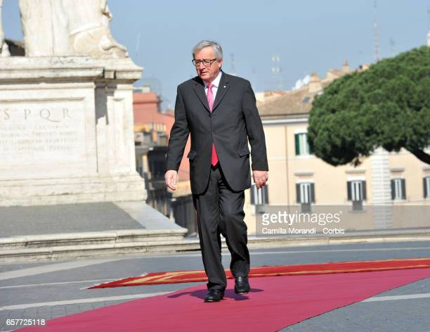 European Commission President JeanClaude Juncker arrives at the Capitole Hill ahead of a special summit of EU leaders to mark the 60th anniversary of...