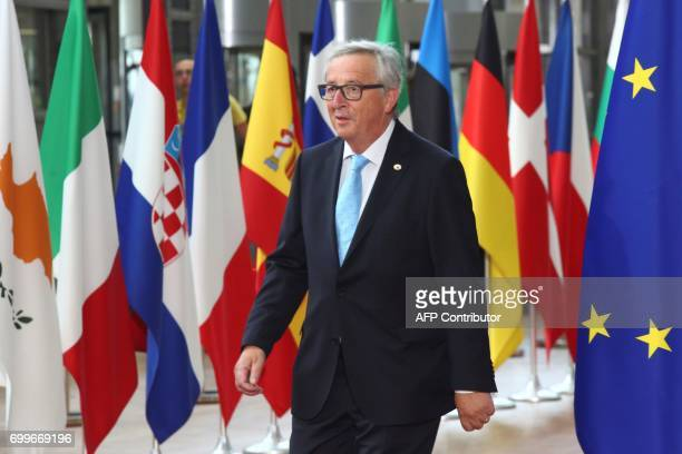 European Commission President JeanClaude Juncker arrives for an European Union leaders summit at the European Council in Brussels on June 22 2017 /...