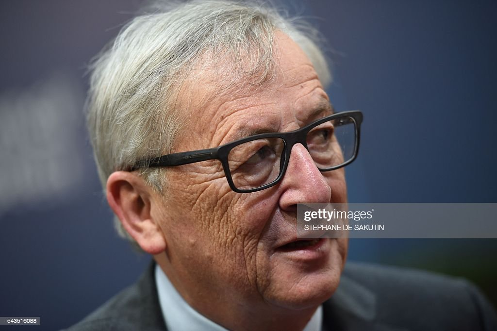 European Commission President Jean-Claude Juncker arrives for the second day of an EU - Summit at the EU headquarters in Brussels on June 29, 2016. European Union leaders will on June 29, 2016 assess the damage from Britain's decision to leave the bloc and try to prevent further disintegration, as they meet for the first time without a British representative. / AFP / STEPHANE