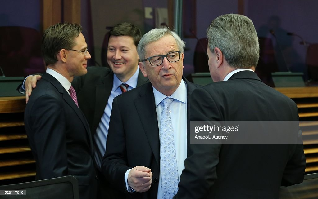 European Commission President Jean-Claude Juncker (2nd R) attends a meeting on European Commission's third visa liberalization progress reports for Turkey, Ukraine, Georgia and Kosovo in Brussels, Belgium on May 04, 2016.