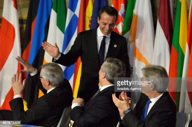 European Commission President JeanClaude Juncker Austrian Chancellor Christian Kern European Parliament President Antonio Tajani and Italian Premier...