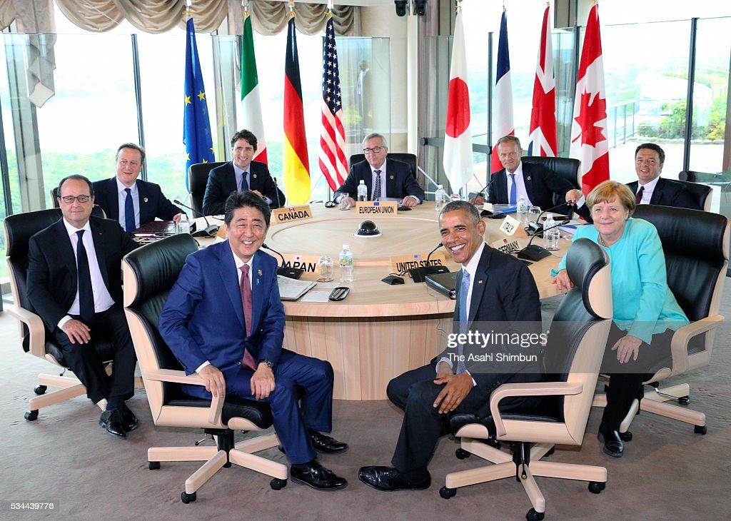European Commission President <a gi-track='captionPersonalityLinkClicked' href=/galleries/search?phrase=Jean-Claude+Juncker&family=editorial&specificpeople=207032 ng-click='$event.stopPropagation()'>Jean-Claude Juncker</a>, Canadian Prime Minister <a gi-track='captionPersonalityLinkClicked' href=/galleries/search?phrase=Justin+Trudeau&family=editorial&specificpeople=2616495 ng-click='$event.stopPropagation()'>Justin Trudeau</a>, British Prime Minister <a gi-track='captionPersonalityLinkClicked' href=/galleries/search?phrase=David+Cameron+-+Pol%C3%ADtico&family=editorial&specificpeople=227076 ng-click='$event.stopPropagation()'>David Cameron</a>, French President Francois Hollande, Japanese Prime Minister <a gi-track='captionPersonalityLinkClicked' href=/galleries/search?phrase=Shinzo+Abe&family=editorial&specificpeople=559017 ng-click='$event.stopPropagation()'>Shinzo Abe</a>, U.S. President <a gi-track='captionPersonalityLinkClicked' href=/galleries/search?phrase=Barack+Obama&family=editorial&specificpeople=203260 ng-click='$event.stopPropagation()'>Barack Obama</a>, German Chancellor Angela Merkel, Italian Prime Minister <a gi-track='captionPersonalityLinkClicked' href=/galleries/search?phrase=Matteo+Renzi&family=editorial&specificpeople=6689301 ng-click='$event.stopPropagation()'>Matteo Renzi</a> and European Council President <a gi-track='captionPersonalityLinkClicked' href=/galleries/search?phrase=Donald+Tusk&family=editorial&specificpeople=870281 ng-click='$event.stopPropagation()'>Donald Tusk</a> pose for photographs at the working lunch during the Group of Seven summit on May 26, 2016 in Shima, Mie, Japan. The 2-day Group of Seven summit takes place to discuss key global issues such as global economy and counter terrorism measures.