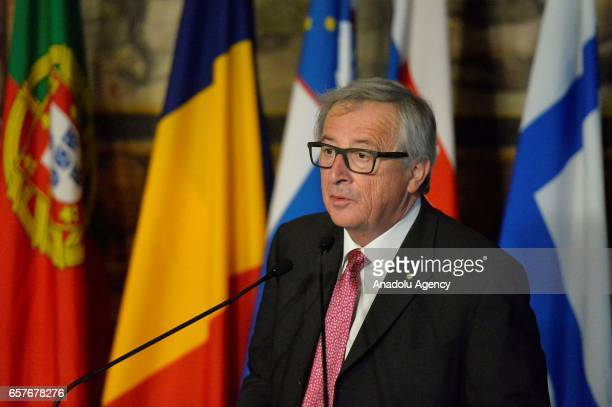 European Commission President JeanClaude Juncker delivers a speech during the EU's 60th anniversary of the Treaty of Rome at the Hall of the Orazi e...
