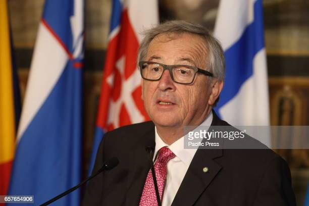 European Commission President JeanClaude Juncker during European Leaders in the Hall of the Orazi e Curiazi of Campidoglio in Rome signed a text to...