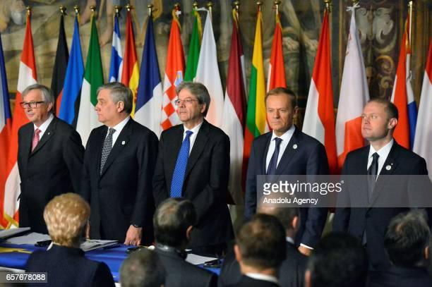 European Commission President JeanClaude Juncker European Parliament President Antonio Tajani Italian Premier Paolo Gentiloni EU Council's President...