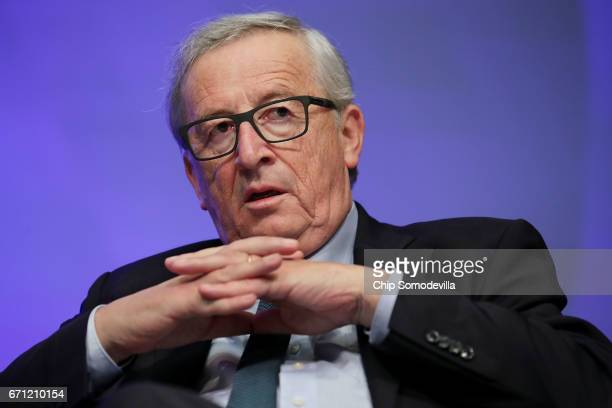 European Commission President JeanClaude Juncker participates in a discussion during the World Bank Group and International Monetary Fund Spring...