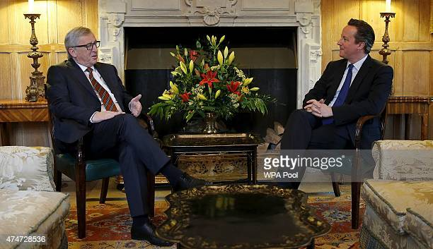 European Commission President JeanClaude Juncker reacts as he meets with Britain's Prime Minister David Cameron at Chequers the Prime Minister's...