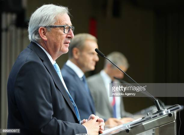 European Commission President JeanClaude Juncker speaks during a press conference after the European Union leaders summit at the Europa building in...