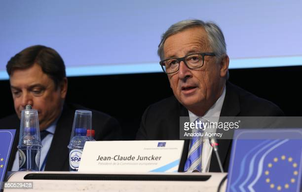 European Commission President JeanClaude Juncker speaks during the 528th Plenary Session of the European Economic and Social Committee in Brussels...