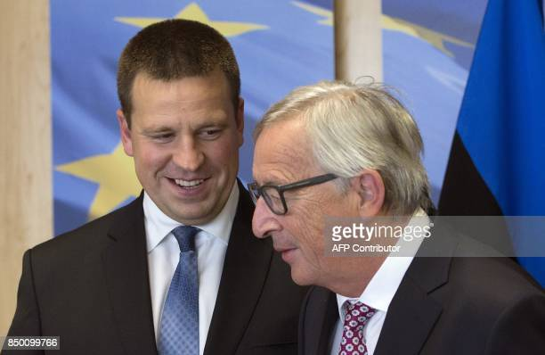 European Commission President JeanClaude Juncker welcomes Estonia's Prime Minister Juri Ratas at the European Commission in Brussels on September 20...