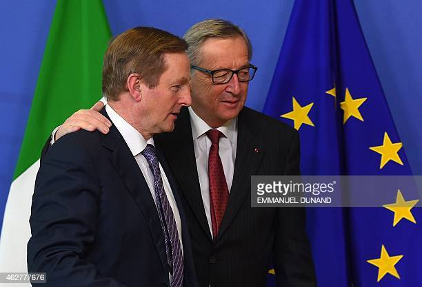 European Commission President JeanClaude Juncker welcomes Irish Prime Minister Enda Kenny at the European Commission headquarters in Brussels on...