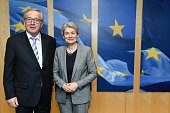 European Commission President JeanClaude Juncker welcomes UNESCO's general director Irina Bokova before a bilateral meeting at the EU Headquarters in...