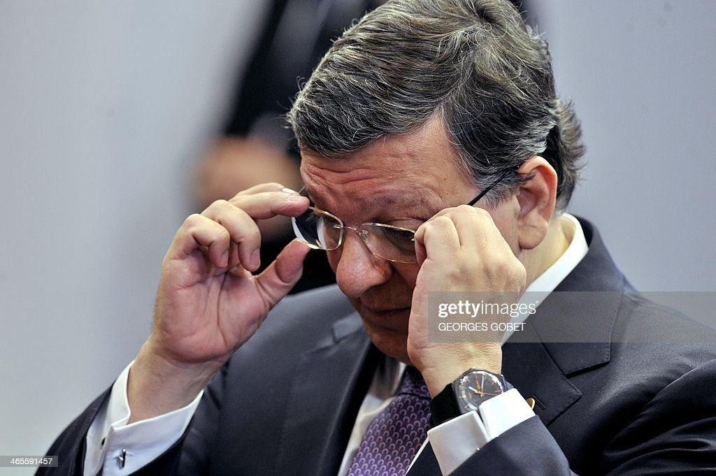 European Commission President Jose Manuel Barroso adjusts his glasses on January 28, 2014 prior an EU-Russia summit at the EU Headquarters in Brussels. 'The EU needs 'to clear the air' with Russia at this summit as sharp differences over the Ukraine crisis and eastern Europe test relations', a senior EU official said.