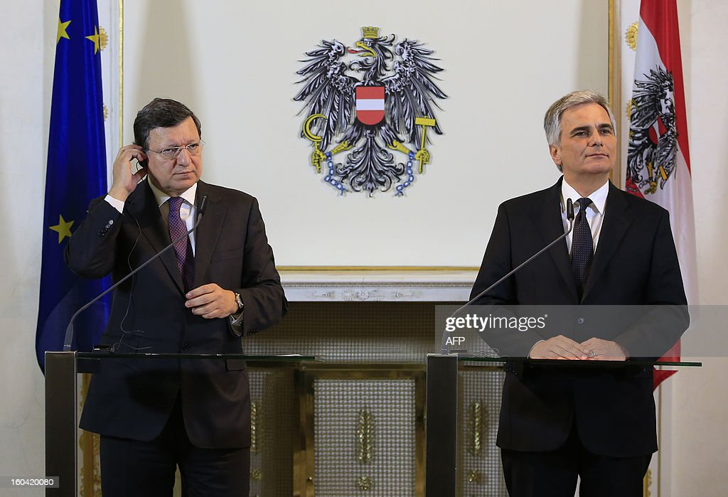 European Commission President Jose Manuel Barroso (L) and Austrian Chancellor Werner Faymann (R) attend a joint press conference in Vienna, Austria on January 31, 2013.