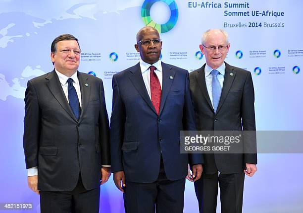 European Commission President Jose Manuel Barroso and EU Council president Herman Van Rompuy welcome Ugandan Foreign Minister Sam Kutesa before the...