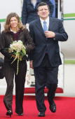 European Commission President Jose Manuel Barroso and his wife Margarida Sousa Uva arrive at the airport on June 6 2007 in RostockLaage Germany...