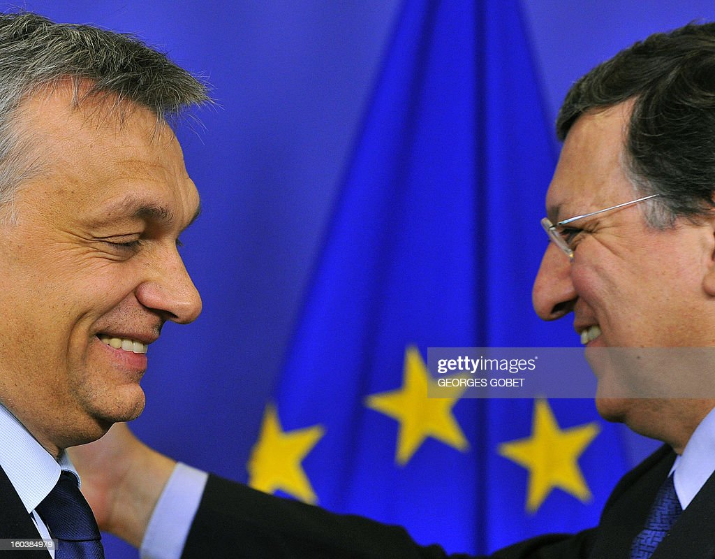 European Commission President Jose Manuel Barroso (R) and Hungary's Prime Minister Viktor Orban are pictured during a joint press conference following their working session on January 30, 2013 at the EU Headquarters in Brussels.