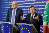 European Commission President Jose Manuel Barroso and Lebanon Prime minister Najib Mikati give a joint press conference after a bilateral meeting at...