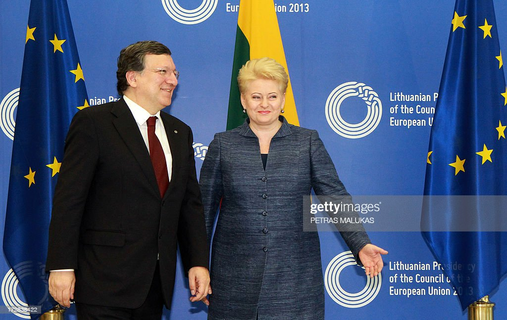 European Commission President Jose Manuel Barroso and Lithuanian President Dalia Grybauskaite pose during a Presidency opening ceremony at the National Art Gallery in Vilnius on July 5, 2013. The small Baltic nation, the first to break free from the crumbling Soviet Union in 1990 before joining the EU in 2004, assumed the six-month rotating presidency of the European Union on July 1, 2013.