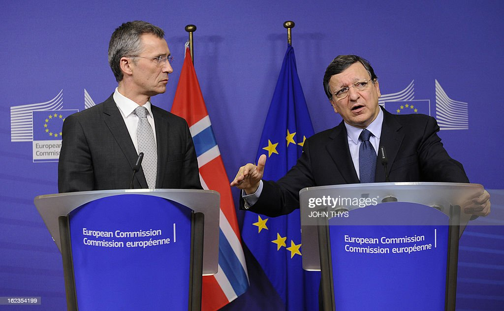 European Commission President Jose Manuel Barroso (R) and Norway's Prime Minister Jens Stoltenberg hold a joint press conference at the EU Headquarters in Brussels on February 22, 2013.