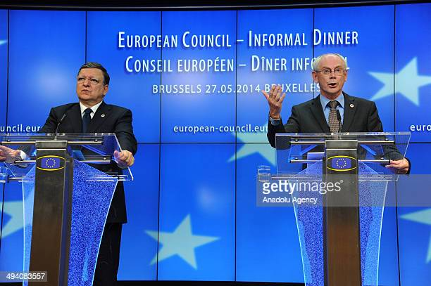 European Commission President Jose Manuel Barroso and President of the European Council Herman Van Rompuy hold a press conference following to the EU...