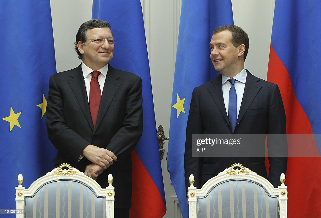 European Commission president Jose Manuel Barroso (L) and Russia's Prime Minister Dmitry Medvedev (R) attend a press conference following their fruitless talks on the Cyprus banking crisis in Moscow, on March 22, 2013. Russia announced today that it would avoid assuming extra risk and wait for Cyprus and the European Union to strike a deal before pitching in to any bailout for the debt-ridden island.