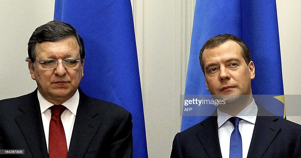 European Commission president Jose Manuel Barroso (L) and Russia's Prime Minister Dmitry Medvedev (R) look on as they attend a document signing ceremony following their fruitless talks on the Cyprus banking crisis in Moscow, on March 22, 2013. Russia announced today that it would avoid assuming extra risk and wait for Cyprus and the European Union to strike a deal before pitching in to any bailout for the debt-ridden island.
