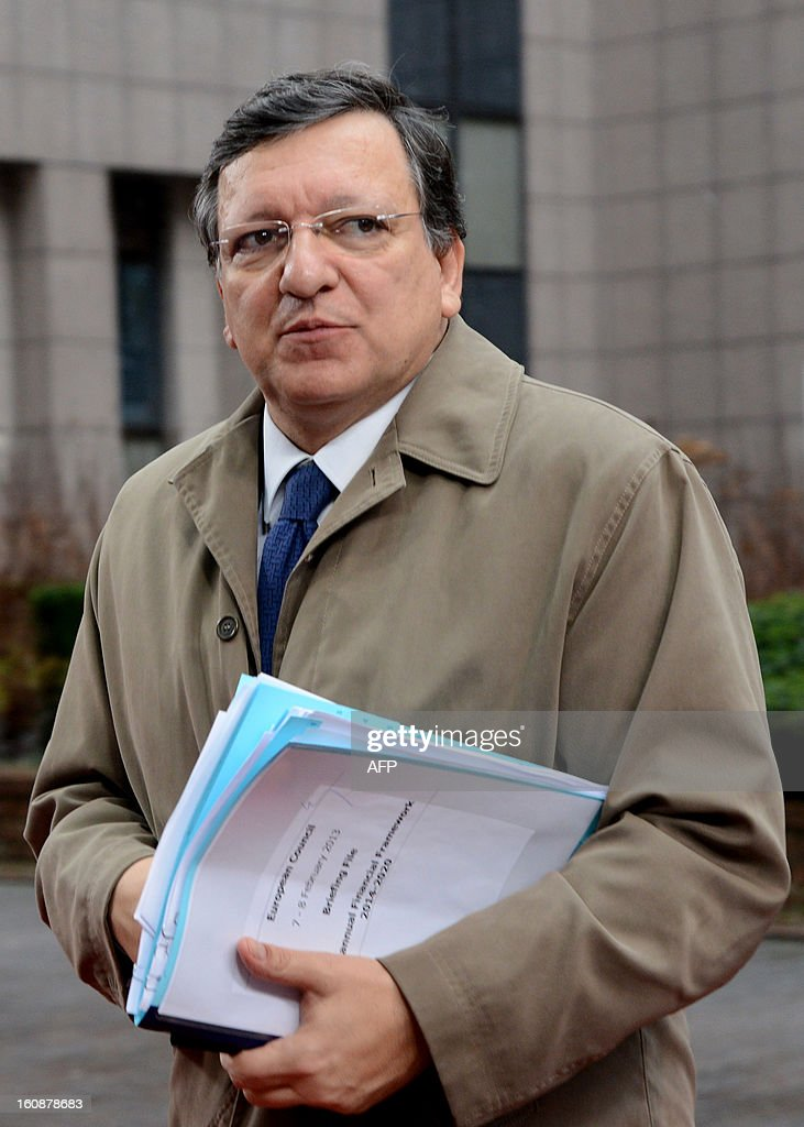 European Commission President Jose Manuel Barroso arrives at the EU Headquarters on February 7, 2013 in Brussels, on the first day of a two-day European Union leaders summit. European Union leaders head into a fresh clash over the EU's budget with the only certainty being that proposals for several years will be cut back.