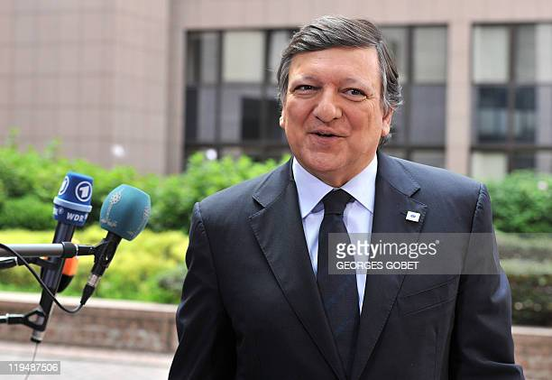 European Commission President Jose Manuel Barroso arrives for the EU summit on July 21 2010 at the European Council headquarters in BrusselsEurozone...