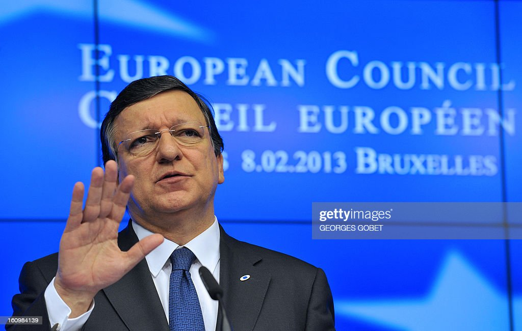European Commission President Jose Manuel Barroso attend a press conference at the EU Headquarters on February 8, 2013 in Brussels, on the last day of a two-day European Union leaders summit. After 24 hours of talks lasting through the night, European Union leaders finally clinched a deal on the bloc's next 2014-2020 budget, summit chair and EU president Herman Van Rompuy said Friday.