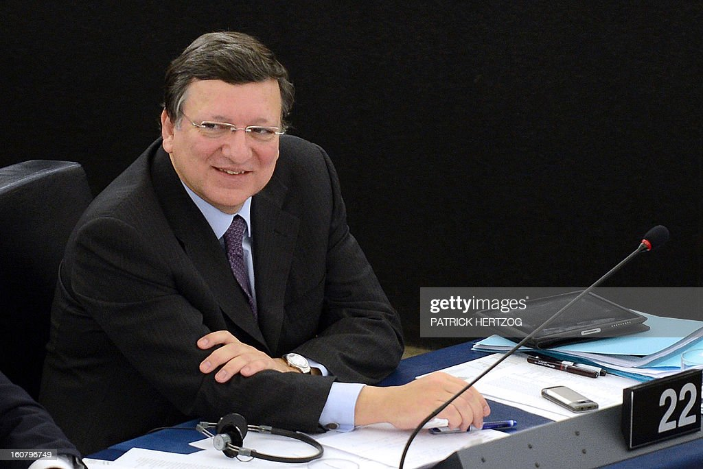 European Commission President Jose Manuel Barroso attends a debate to prepare the next European Council meeting at the European Parliament in Strasbourg on February 6, 2013. The European Council meeting will be held on February 7 ot 8.
