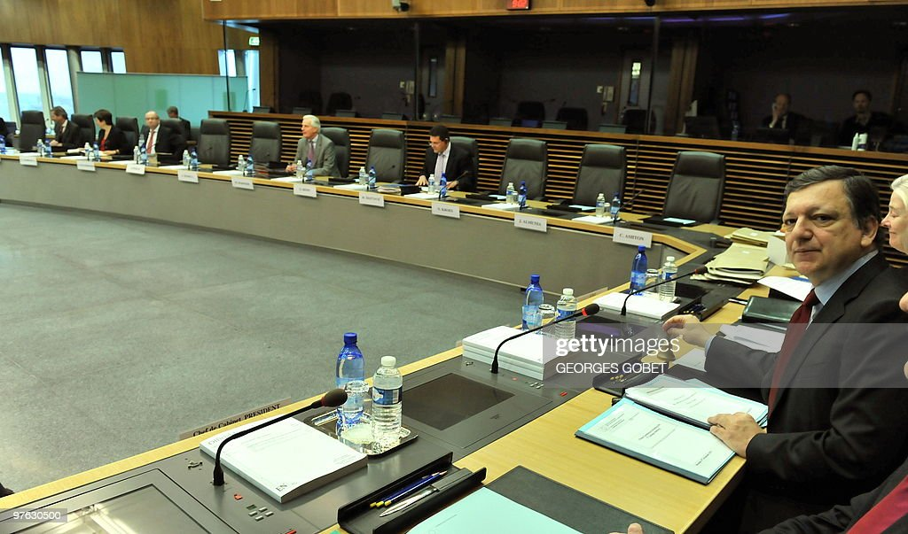 European Commission President Jose Manuel Barroso chairs on Febuary 17 2010 the first meeting of the EU commission at EU headquarters in Brussels AFP...
