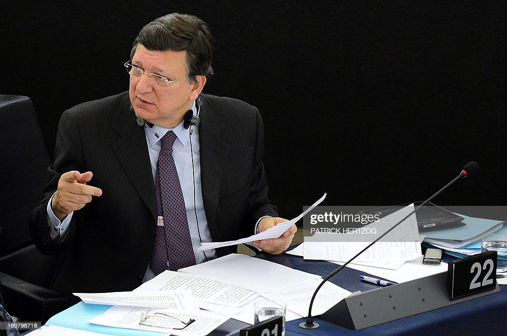 European Commission President Jose Manuel Barroso delivers a speech to prepare the next European Council meeting at the European Parliament in Strasbourg on February 6, 2013. The European Council meeting will be held on February 7 ot 8.