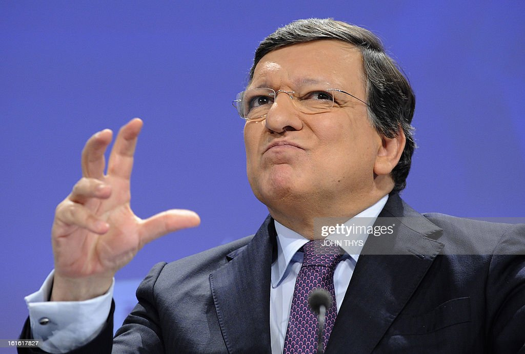 European Commission President Jose Manuel Barroso gestures during a press conference with EU Trade commissioner on a major transatlantic trade initiative on February 13, 2013 at EU Headquarters in Brussels.