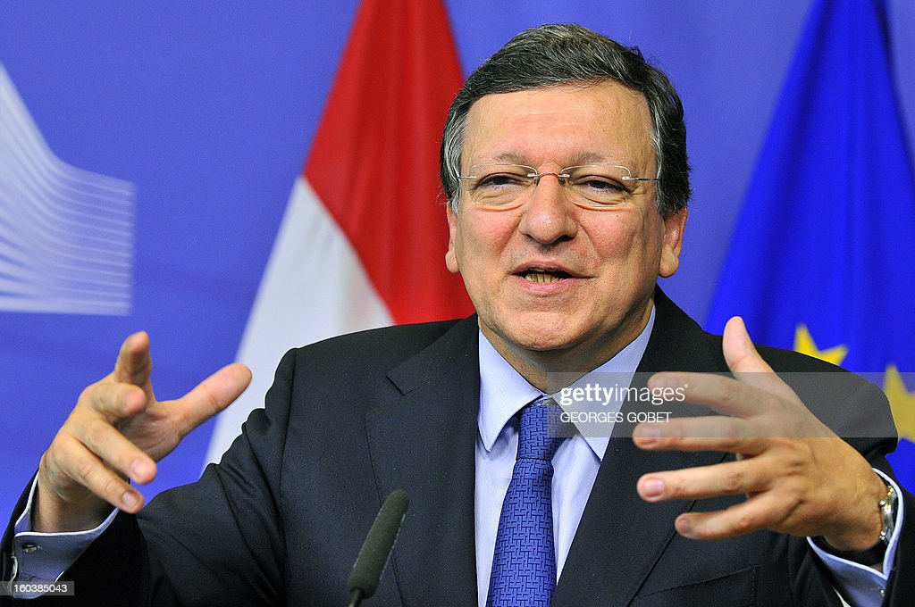 European Commission President Jose Manuel Barroso gives a joint press conference with Hungary's Prime Minister following their working session, on January 30, 2013 at the EU Headquarters in Brussels. AFP PHOTO GEORGES GOBET