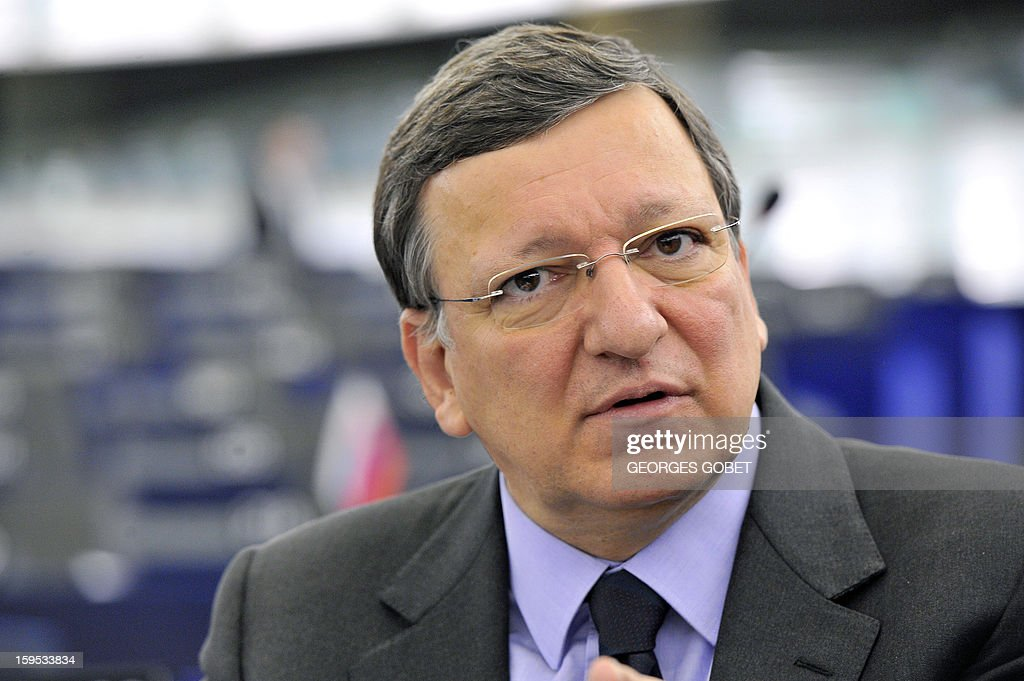 European Commission President Jose Manuel Barroso is pictured prior to a debate on the future of European Union at the European Parliament in Strasbourg on January 15, 2013 during a plenary session. AFP PHOTO GEORGES GOBET