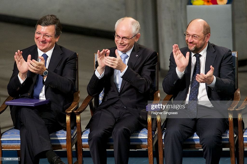 European Commission President <a gi-track='captionPersonalityLinkClicked' href=/galleries/search?phrase=Jose+Manuel+Barroso&family=editorial&specificpeople=551196 ng-click='$event.stopPropagation()'>Jose Manuel Barroso</a> of Portugal, EU President <a gi-track='captionPersonalityLinkClicked' href=/galleries/search?phrase=Herman+Van+Rompuy&family=editorial&specificpeople=4476281 ng-click='$event.stopPropagation()'>Herman Van Rompuy</a> of Belgium and European Parliament President Martin Schulz of Germany attend The Nobel Peace Prize Ceremony at Oslo City Hall on December 10, 2012 in Oslo, Norway.